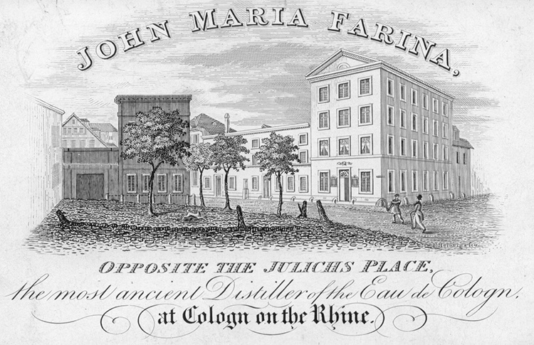 Early 19th-century English-language trade card of John Maria Farina, cologne manufacturer, showing Farina Haus, Köln.