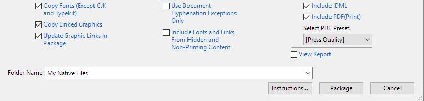 Choosing What ot Include in your Adobe InDesign package
