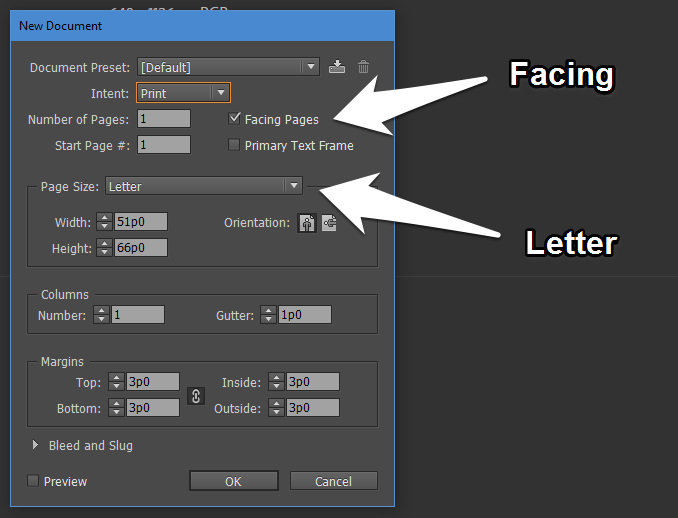 Creating a New Document in InDesign