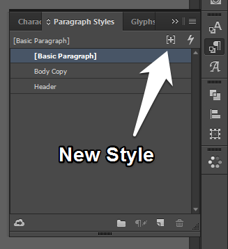 Creating a New Style in InDesign